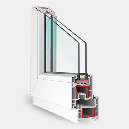 Трёхкамерный профиль с однокамерным стеклопакетом