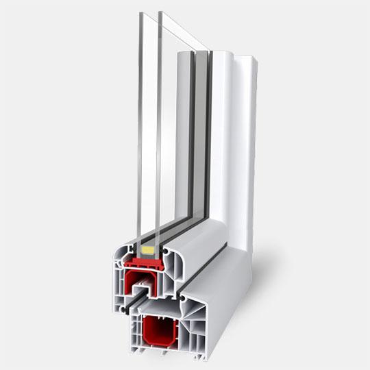 Пятикамерный профиль с однокамерным стеклопакетом