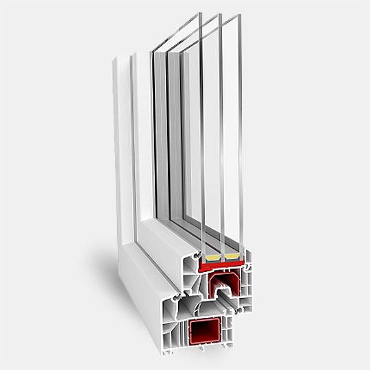 Шестикамерный профиль с двухкамерным стеклопакетом